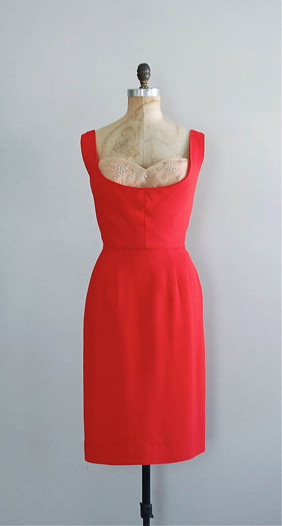 red 1950s dress