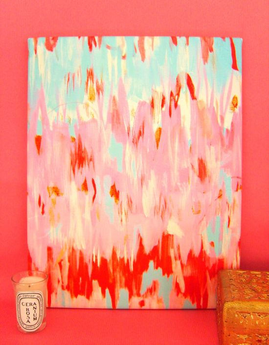 FLAMINGO ABSTRACT on stretched canvas 11x14 by annechovie on Etsy, $68.00