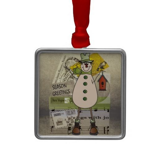 Old Fashion Snowman -Season Greetings.    Green.  Collect all three.  Look for more items in my store.  Designs by DonnaSiggy. #ornament,#Christmas,#vintage