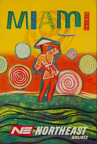 Miami, Florida Northeast Airlines vintage travel poster