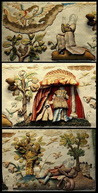 17C Embroidery - stumpwork at  Victoria and Albert Museum - British Galleries