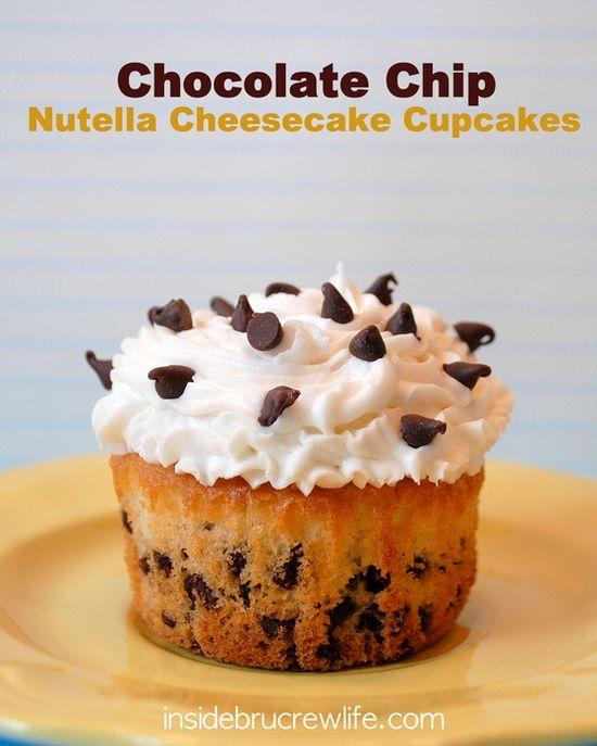 Chocolate Chip Nutella Cheesecake Cupcakes - vanilla chocolate chip cupcakes filled with a Nutella cheesecake center and topped with vanilla buttercream