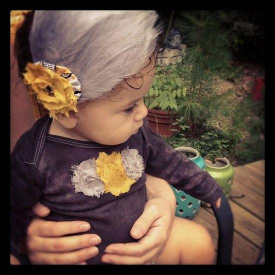 Long sleeve baby girl onesie Baby girl gray shirt by rockabutt, $21.00