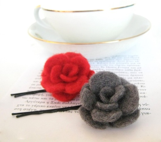 Felt flower hair pins - Hand felted wool