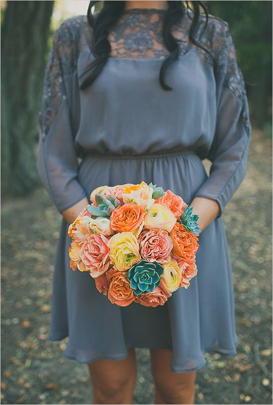 This colors in this bouquet is so fab! #wedding #events #flowers #succulent #orange #tangerine #yellow