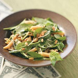 Spinach Salad with Penne-sub toasted walnuts or pecans for the pine nuts.  FF raspberry vinaigrette?