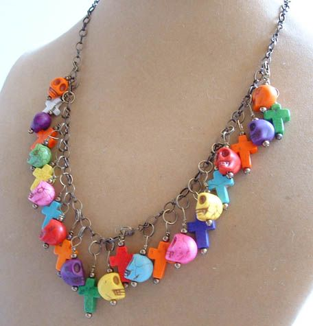 Handmade Jewelry Day of the Dead Necklace $38.00