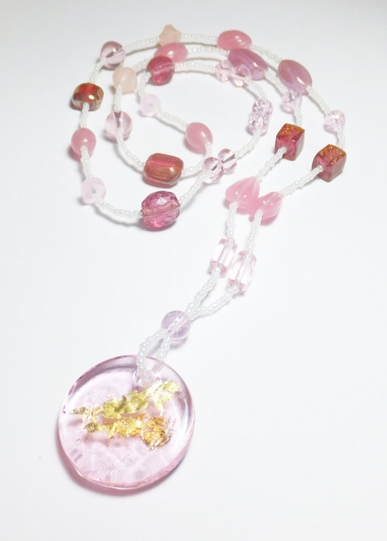 Light Pink Glass Round Focal with Gold Foil Beadwork by tzteja, $22.00  #necklace, #beaded, #glass, #pink, #handmade, #pendant, #gold