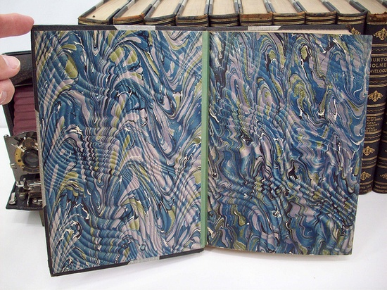 Beautiful handmade marbled end pages from antique book.