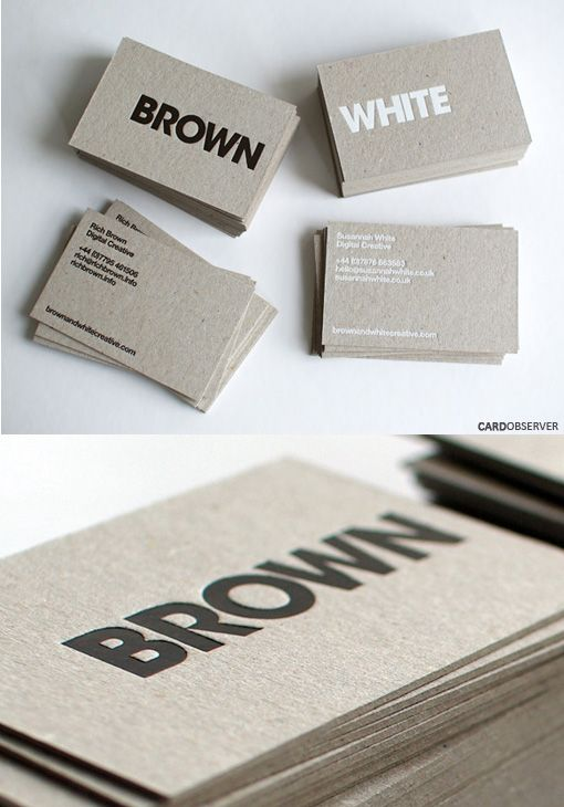 Brown & White business cards