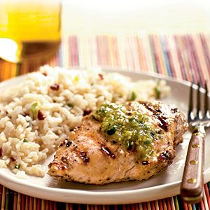 Grilled Cumin Chicken with Fresh Tomatillo Sauce | CookingLight.com #myplate #protein #vegetables
