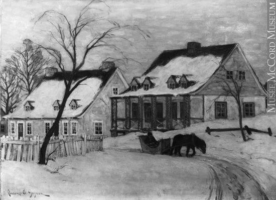 VIEW-26047 | Un village en hiver, peinture de Clarence Alphonse Gagnon, copie réalisée pour la galerie dart Watson, 1936-1937