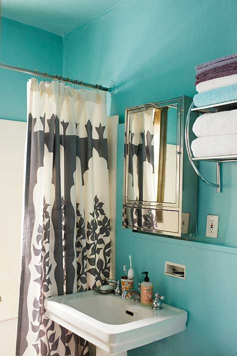 turquoise walls & bold print shower curtain