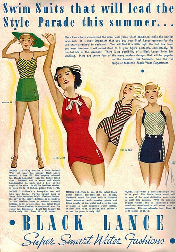 Swimsuits that will lead the style parade this summer! #beach #vintage #1930s #fashion