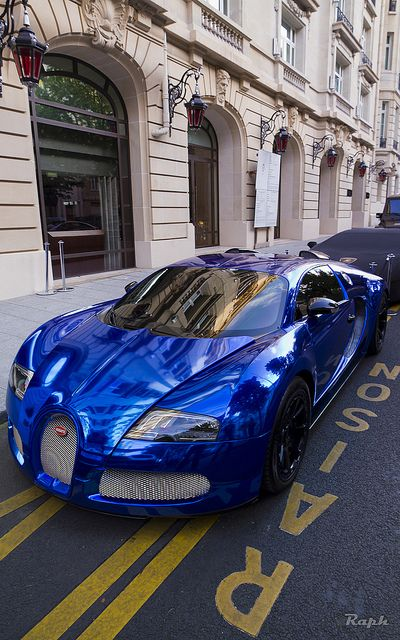 Sleek Blue Chrome Bugatti