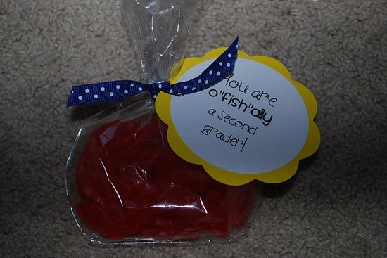 "Goldfish in small clear party favor bag – add ribbon & tag ""O-FISH-ally in __ gr"