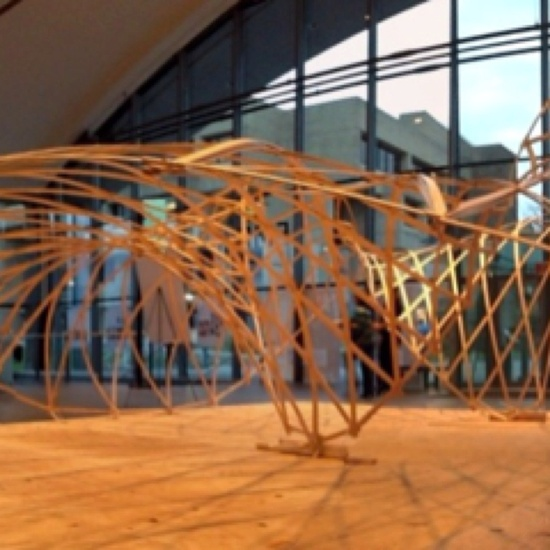 Gridshell designed and built in 4 days at the Smartgeometry 2012 workshop.