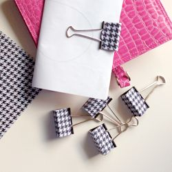 Hip up your office with fancy covered clips! Super easy DIY.