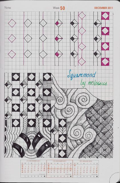 Squaremond-Tangle Pattern by molossus, who says Life Imitates Doodles, via Flickr