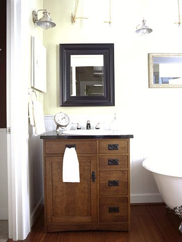 I really like the mission style of this sink and mirror... kids bathroom?