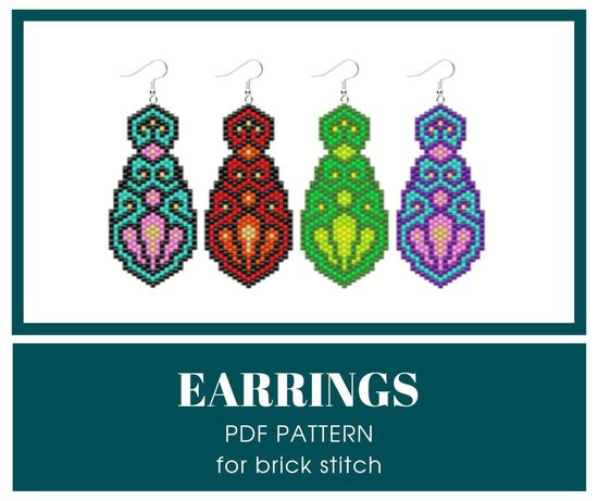 Excited to share this item from my #etsy shop: Brick stitch earrings bead pattern; PDF bead pattern #earringspattern #brickstitchpattern #beadpattern #pdfbeadpattern