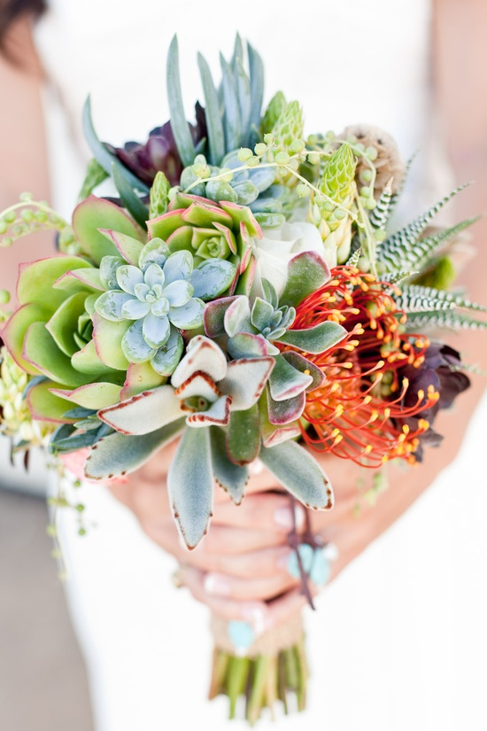 My friend at Suzan M. Florals designed this bouquet for an all succulent wedding and this is only one of the great ideas from it that I'm totally going to use for my house!