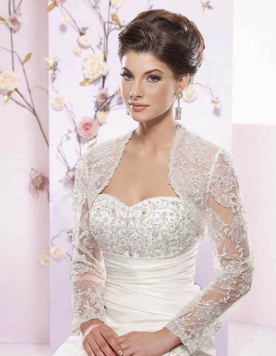 Charming long sleeve with appliques wedding dress jacket for Wedding dress with shrug