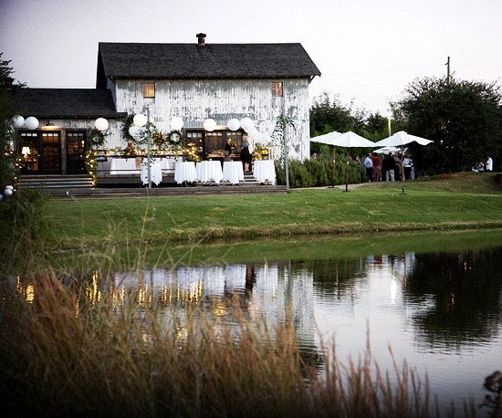 A rustic barn was a romantic reception venue for this country chic wedding. See the rest of the wedding: www.bhg.com/...