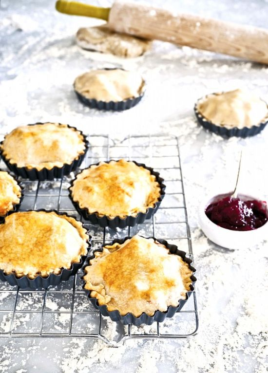 simple turkey, ham + cranberry tarts! -- serve with a side of greens or beans