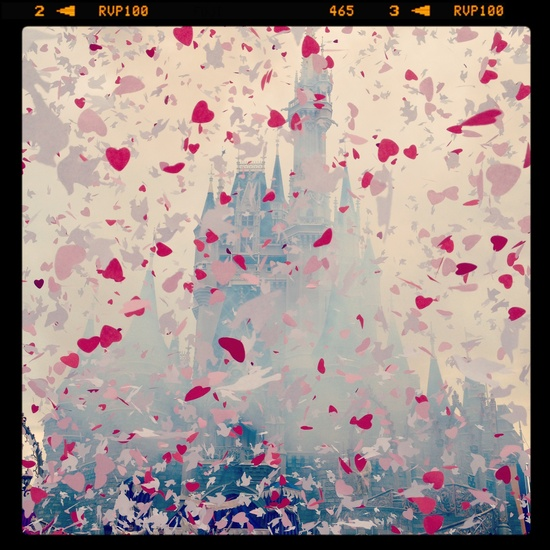 Confetti of love at Cinderella Castle in Magic Kingdom for True Love Week