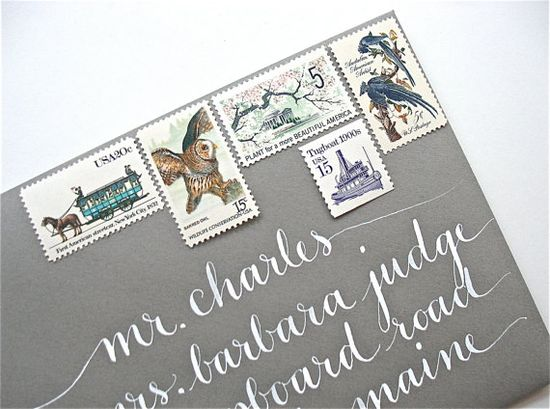 fun stamps and white calligraphy!