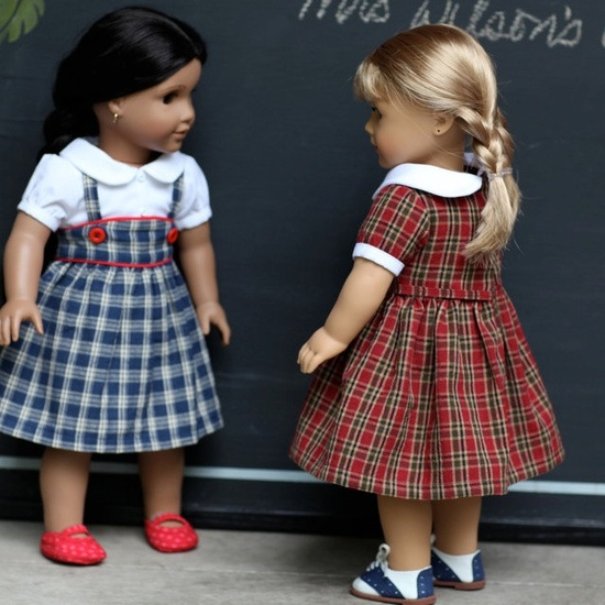 CUTE photography! Mrs. Wilson's Class Red Plaid Dress for American Girl Doll by Fox & Family
