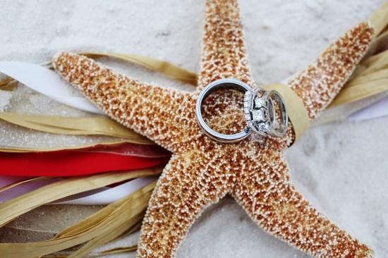 Beach Wedding Starfish Ring Shot