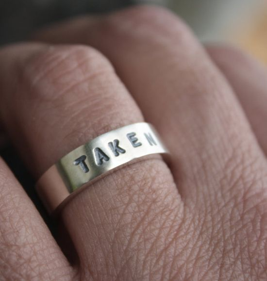 unique mens wedding ring stamped taken chunky by LolaAndCash, $65.00