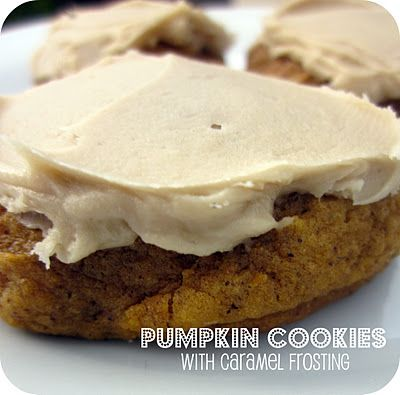 Pumpkin Cookies with Caramel Frosting . . . the frosting is amazing! SixSistersStuff.com #Recipe #Dessert #Fall