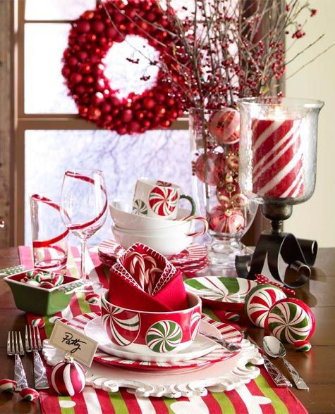 candy cane #Christmas #tablescapes