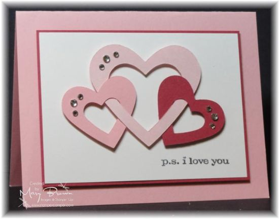 handmade Valentine card ... interlocking hearts in pink ... ps I love you ... Stampin' Up!