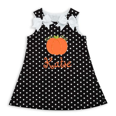 personalized pumpkin!  cute halloween clothing at lollywollydoodle.com