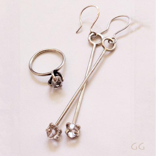 EARRINGS with Diamonds Sterling Silver Modern by GGoriginal