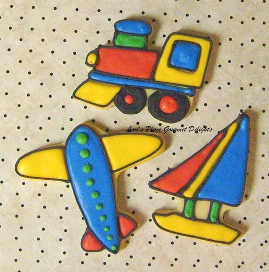 Reserved for Karen----PLANES - TRAINS  and  SAILBOATS - Airplane  Cookies - Train Cookies - Sailboat Cookies - Cookie Favors - 1 Dozen. $100.00, via Etsy.