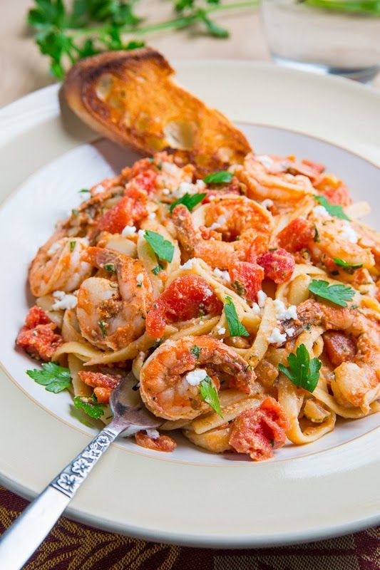 Shrimp Linguine in a Tomato and Feta Sauce by closetcooking  #Pasta #LInguine #Shrimp #Feta