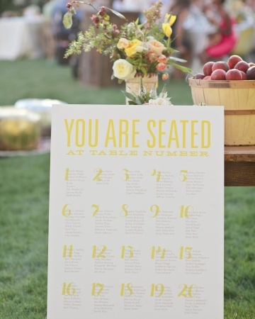 A large yellow-and-white chart helped guests easily find their table assignments