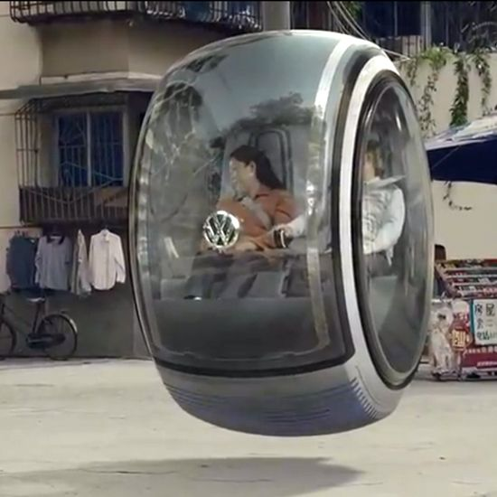 Volkswagen's concept car that travels by using magnetic force to float, interesting
