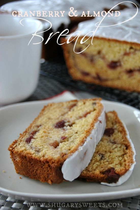 Cranberry Almond Bread- a quick bread using whole berry cranberry sauce and almond extract. LOVELY. #cranberry #quickbread www.shugarysweets...