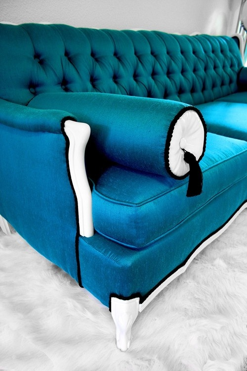 Bright Blue Couch. Put a colorful couch in your web room on mywebroom.com