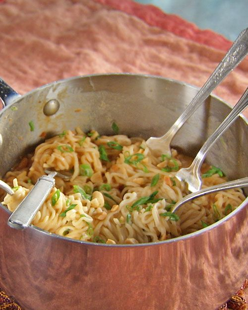 Ramen noodles, peanut butter, soy sauce, and chili sauce…cheapo pad thai