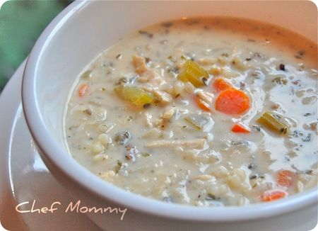 Crock pot creamy chicken and wild rice soup.  Yum!