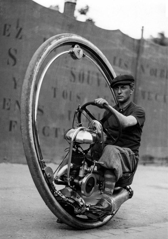 Invented by M. Goventosa de Udine in 1931, the one wheeled motorcycle.  Little is known about de Udine (not shown), even if he was the sole inventor.  What is known is that this one wheeled motorcycle could reach speeds of 150km/hr...