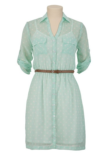 Belted Polka Dot Shirt Dress available at #Maurices