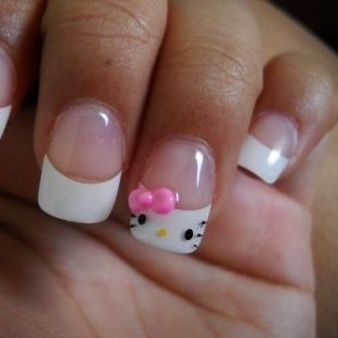 Hello Kitty Nails. HK. French Tip. Pink. White. Black. Yellow. Art Schedule. Fas